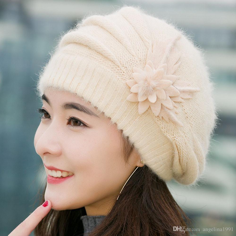 Fashion Women Spring Winter Hats Beanies flower Knitted Cap Crochet Hat Ear Protect Casual Cap Chapeu Feminino chrismas gift