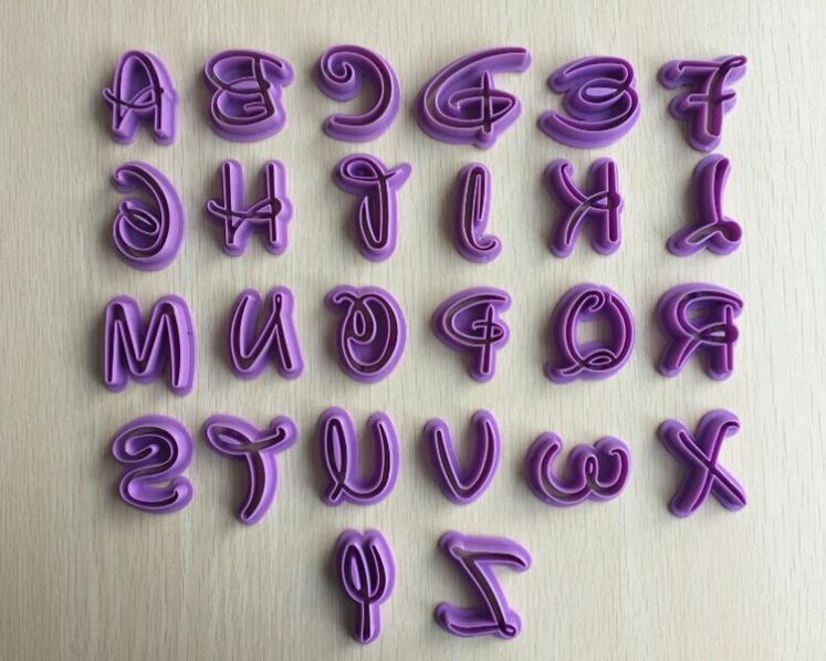 6 sätze / los Heißer Verkauf 36 stück Alphabet Buchstaben Zahlen Schneider Fondant Stempel Cookie Kuchen Geburtstag Werkzeug Freies Verschiffen