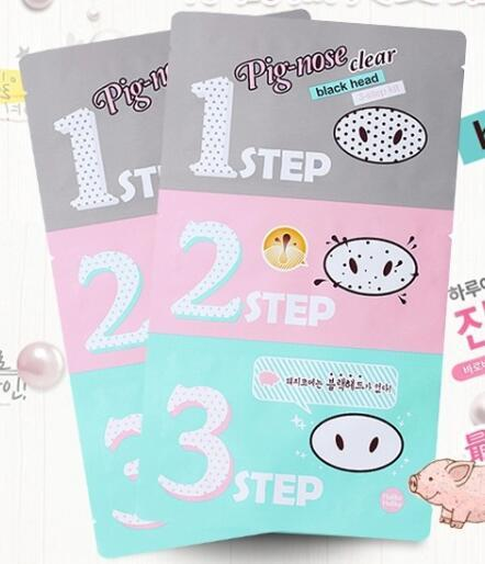 Holika Holika Pig-nose Clear Black Head 3-step Kit,Pig nose mask to clean your nose, Whitening pore cleaner Acne treatment.