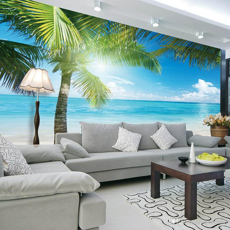 Awesome Coconut Tree Beach Photo Wallpaper Custom 3d Wall Murals Ocean Sunshine  Wallpaper Boys Kids Bedroom Personalized Interior Design Room Decor Wild  Screen ... Part 27