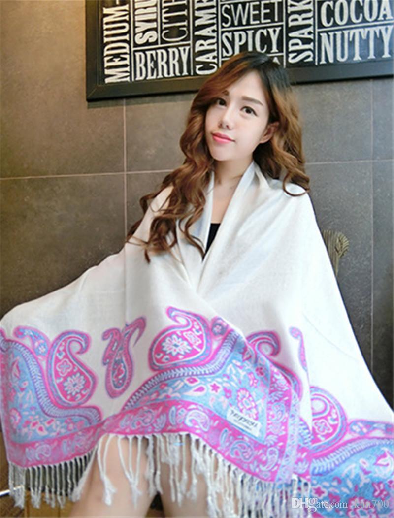 Vintage Scarves For Women Cotton Cashmere Wool Super Large Shawl Colorful Tassel Scarves Wholesale Fashion Accessories