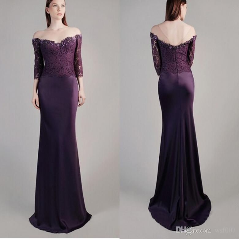 Purple Mermaid Prom Dresses 2015 Sheer Strap Evening Gowns ...