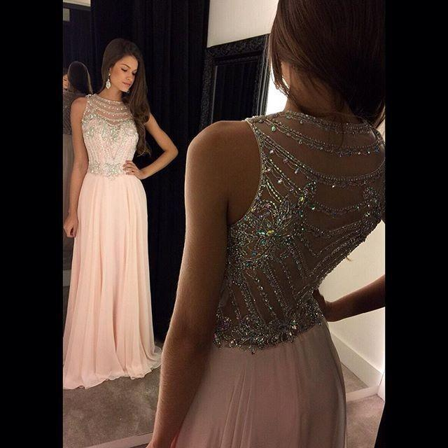 Roze chiffon speciale gelegenheid jurken hand kralen applique a-lijn lange elegante prom jurken op maat gemaakte avondjurk