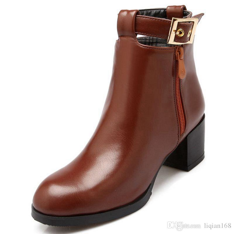 75ab77aa90d Women High Heel Martin Boots Half Short Boot Martin Autumn Winter Botas  Fashion Buckle Footwear Brand Shoes Size 35-44 Women Shoes Boots Ankle Boot  Online ...