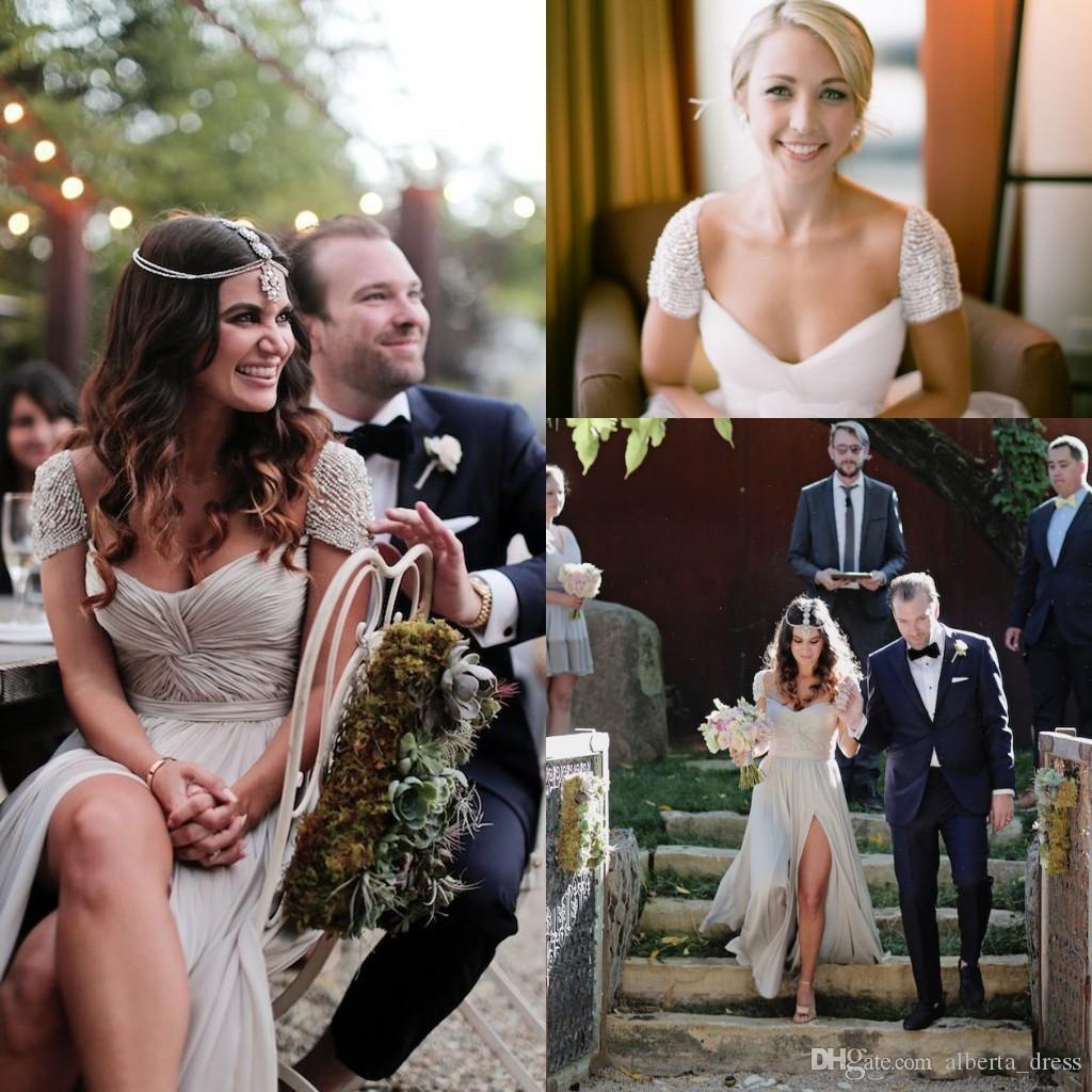 Элегантный Cap Seelves Sexy 2016 весна лето линия свадебные платья сексуальные складки шифон длиной до пола пляж свадьба Пром платья бусы