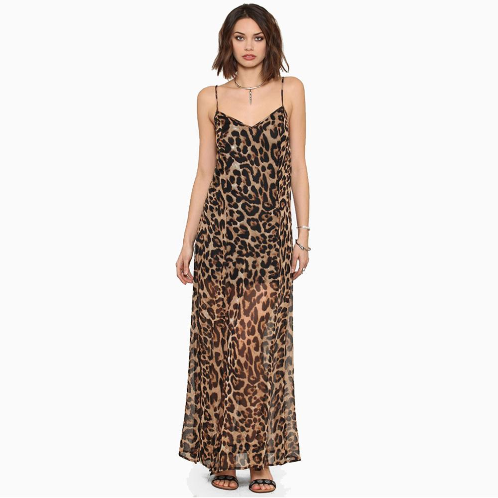 9b81213a1f89 Acquista Europei Sexy Chiffon Dress Vestidos 2015 Estate Style Leopard  Print V Neck Spaghetti Strap Slits Long Maxi Dress Marrone Ordine   18no  Trac A ...