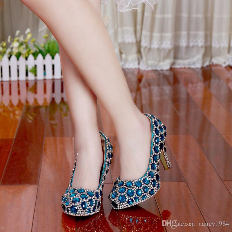 Moda nueva boda zapatos de novia mujer tacón alto azul cristal zapatos de mujer fiesta la nueva princesa Rhinestone zapatos femeninos