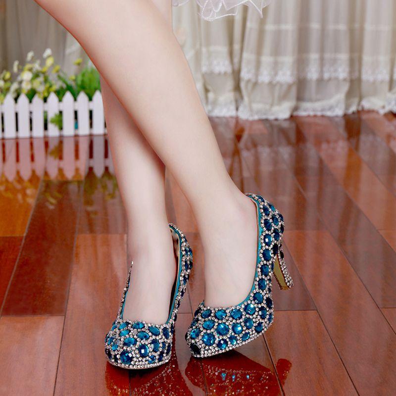 Mode Nouveau Mariage Chaussures De Mariée Femme À Talons Hauts Bleu Cristal Femmes Chaussures Fête La Nouvelle Princesse Strass Chaussures Féminines