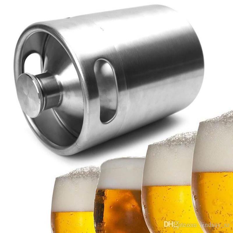 Frascos de caña Flagon de acero inoxidable 2L Mini botella de cerveza Barriles Barril de cerveza Tapón de rosca Cerveza Growler Homebrew Wine Pot Barware Party