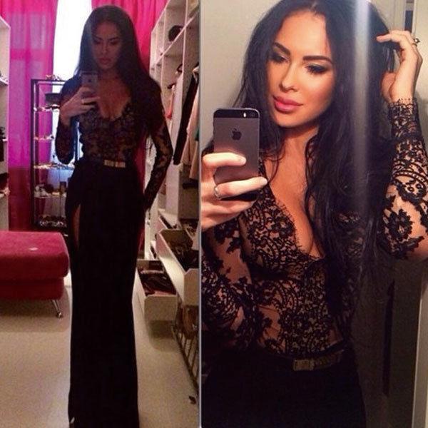 84b5ac03587a 2015 Sexy Lace Club Bandage Dress Black Split Deep V Neck Semi Sheer  Bodycon Dress Embroidery