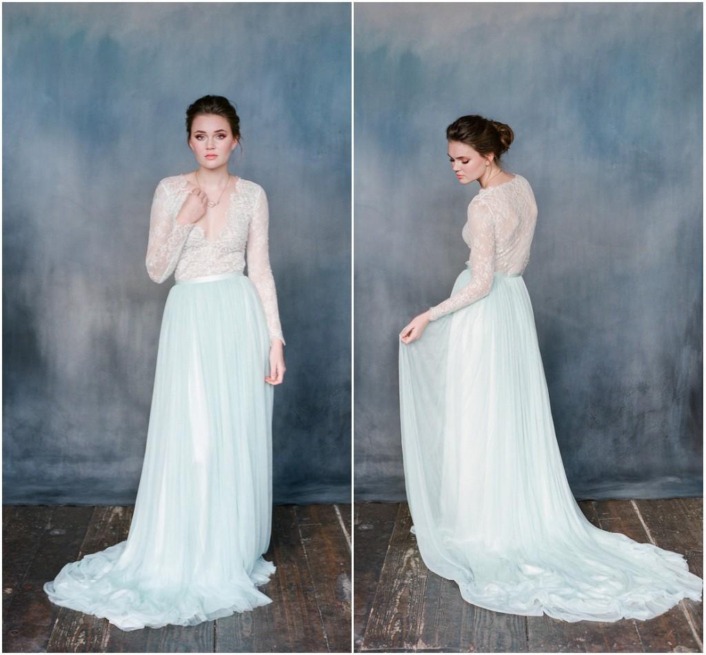 Discount Vintage Boho Wedding Dress Blue And White V Neck Pleated ...