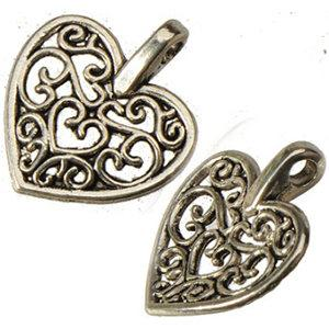retro silver heart love charms for sale bracelets diy necklaces pendants dangles hollow filigree slide alloy jewelry findings 16*14mm