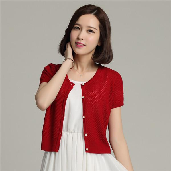2018 Pierced Style Short Sleeve O Neck Silk Cardigan For Women ...
