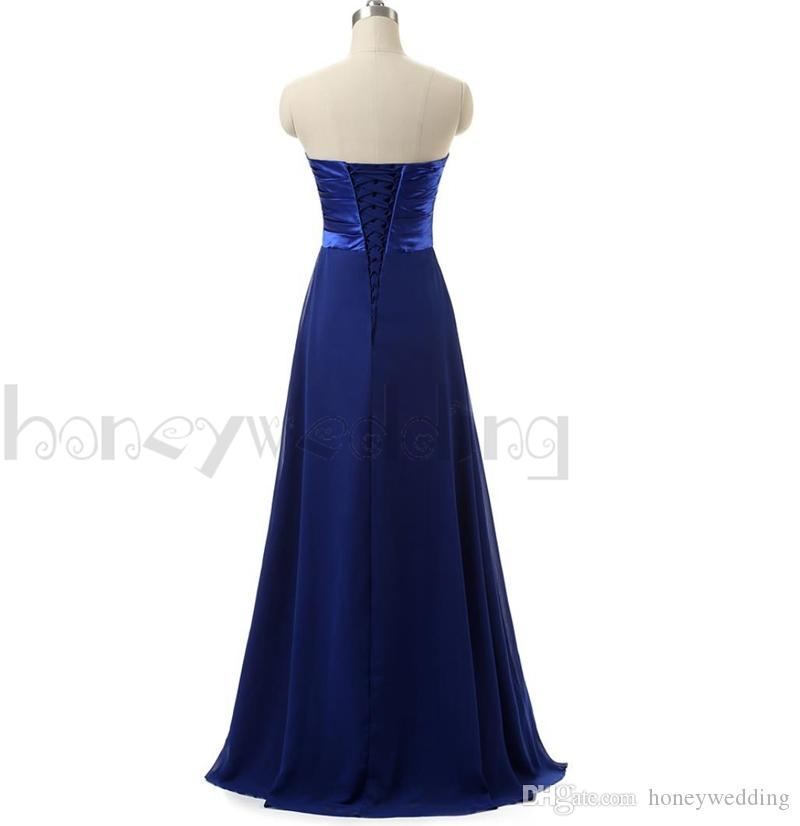 Top Rated Bridesmaid Dresses Long Floor Sequin Beaded Draped Chiffon Royal Blue / Purple In Stock Cheap Bridesmaids Dress For Women Wedding