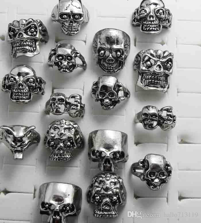 Skull Squelette Gothic Alloy Anneaux En Gros Punk style anneaux pour hommes