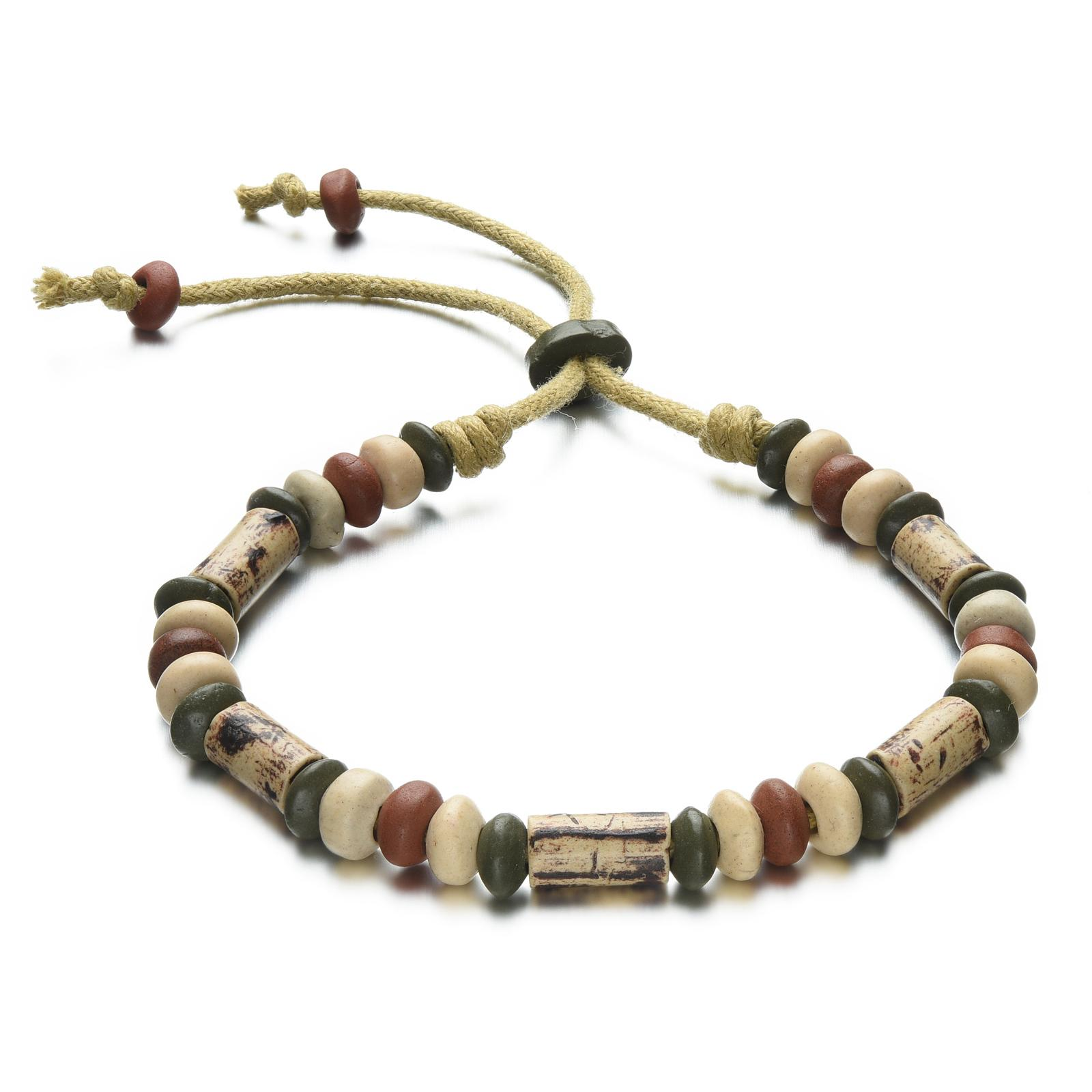Earth Color Abacus Rondelle Clay Beads String Bracelet Adjustable