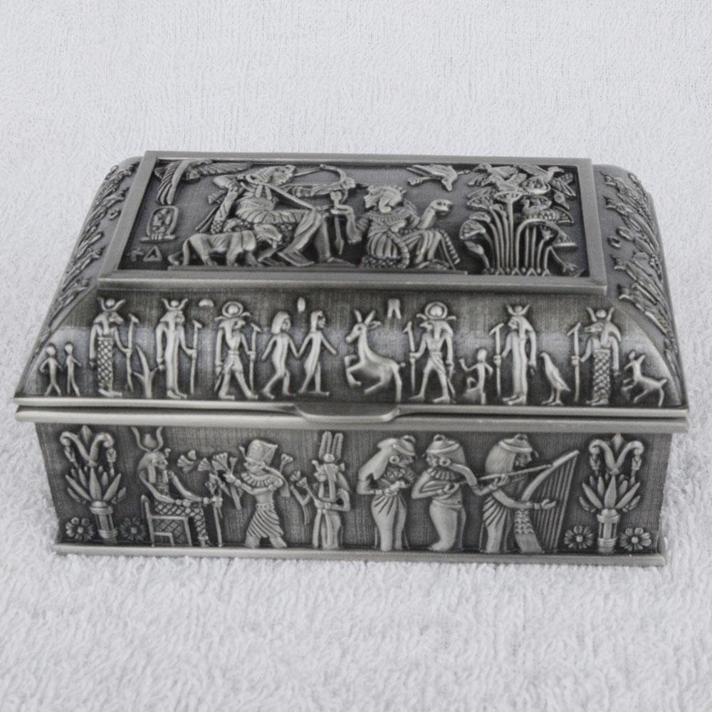 Vintage Egyptian Jewellery Treasure Box Antique Metal Luxury Jewelry