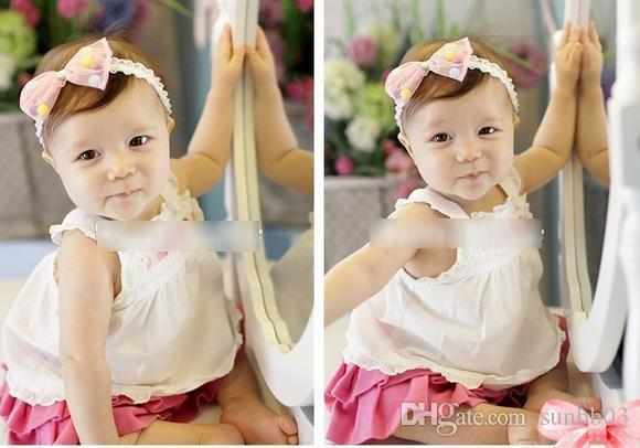 New Lovely Baby Hair Bow Candy Color Girl Infant Kids Adorable Lace Hair Bands Balls Children Hair Accessories Pretty Headbands 10826
