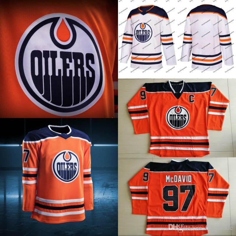 pretty nice f0f6e c00ff 2018 New Season Edmonton Oilers Jersey 29 Leon Draisaitl 97 Connor McDavid  19 Patrick Maroon 34 Nick Ellis Hockey Jerseys