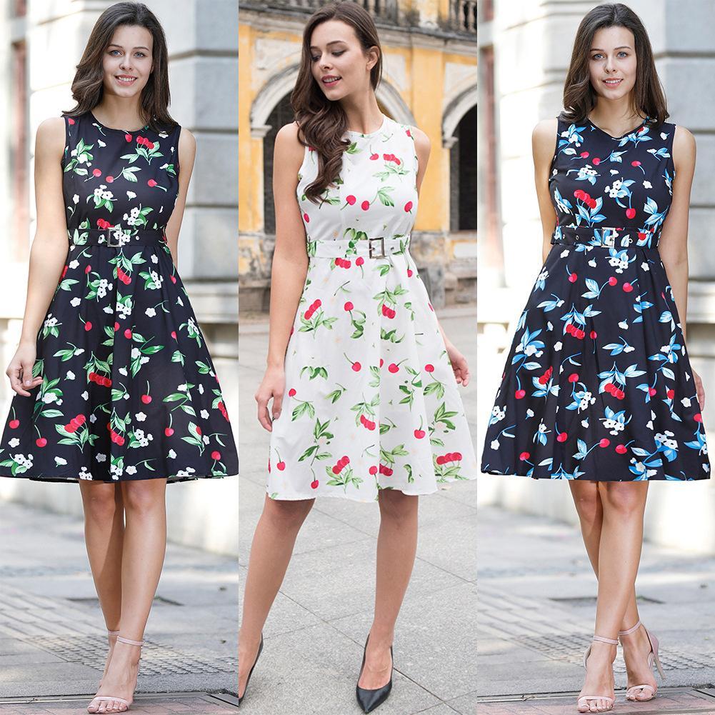 Großhandel Mode Sommer Vintage Kleider Drucken Floral A Line O Hals ...