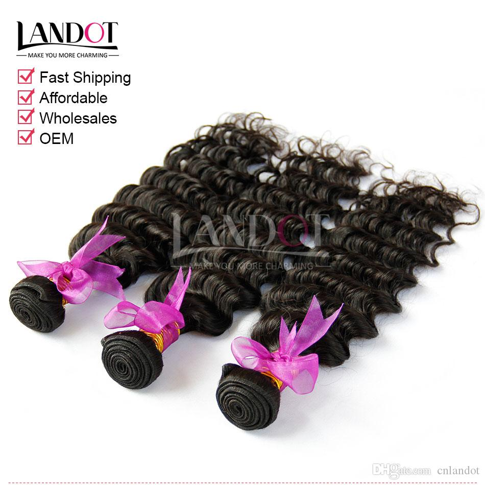 Eurasian Virgin Hair Deep Wave With Closure 7A Unprocessed Curly Human Hair Weave 3 Bundles And Top Lace Closures Natural Black Wefts