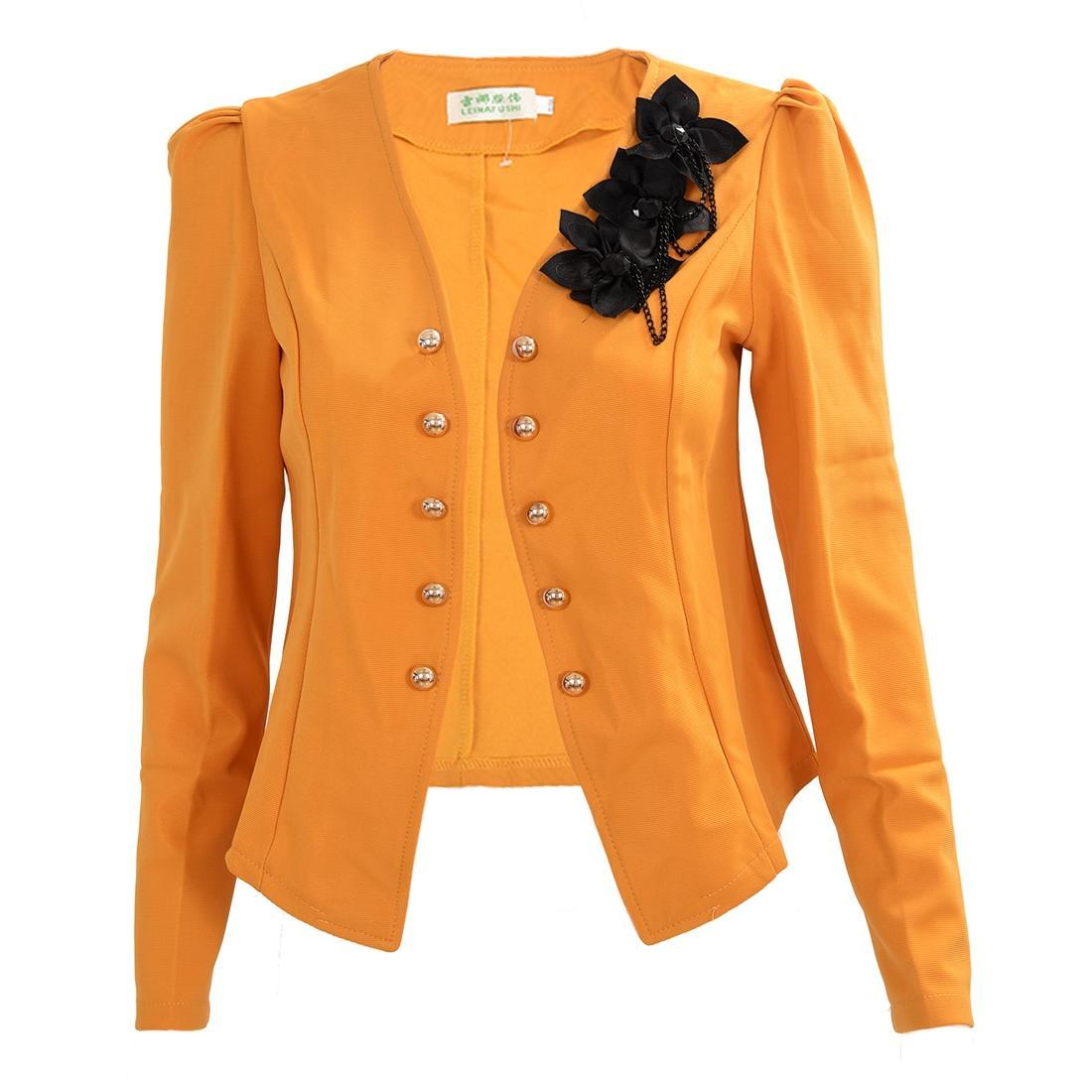 purchase cheap 539a6 1ccdc Primavera Autunno Donne solide Sottile Giacche corte Giacche in cotone e  poliestere Completi donna Outwear Giallo