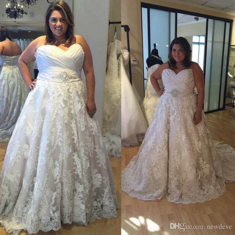 Discount Plus Size Wedding Dresses 2018 Sweetheart Neckline ...