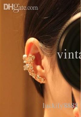 Koreansk elegant förfining Top Grade Flash Drilling Butterfly Blomma Örhängen Öronklipp öron Manschett har genomborrat öron inget genomborrat öra