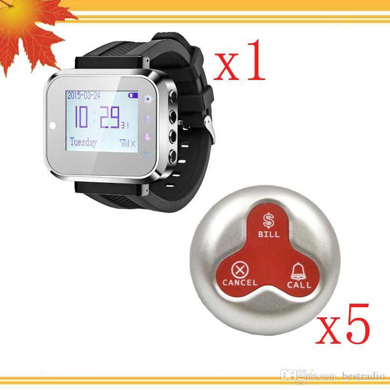 Sistema de llamada de camarero inalámbrico con señal fuerte 1 Buscador de reloj y 5 Botón de llamada de 3 teclas