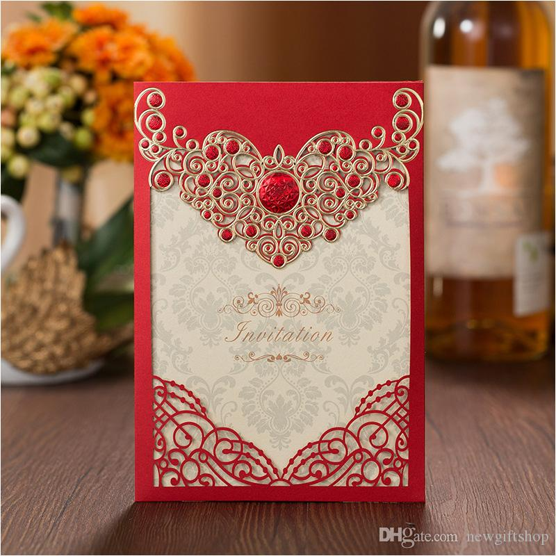 Luxury Laser Cut Wedding Invitations Red Embossed Floral Birthday ...