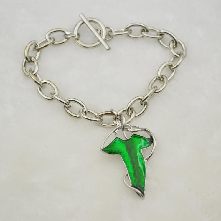 Movie Jewelry The Lord of the Rings Fashion Alloy Oil Bracelet Fairy Bracelet Green Leaf Bracelet