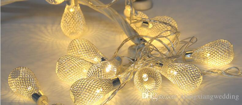 LED Lights String Gold Silver Iron Arts Hollow-out Water Droplets Lights Wedding Celebrations Christmas Batteries Lights Hanging
