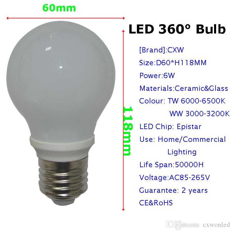 360도 빛 3W 5W 6W 7W 9W 12W LED 전구 85-265V E27 / E26 LED 램프 화이트 / 따뜻한 화이트 smd2835 Led 전구