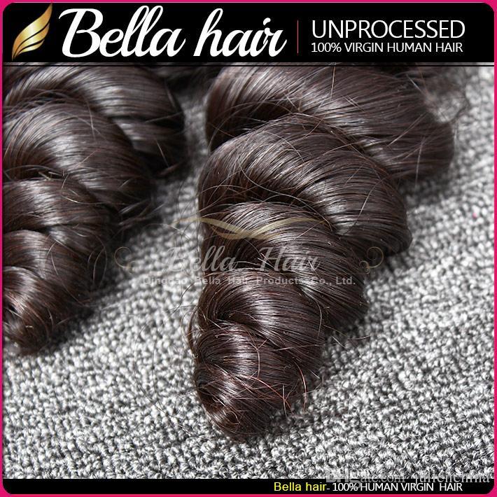 Bellahair®Unprocessed Brasilian buntar lös våg peruansk indisk Virgin Hair Extensions Naturlig färg