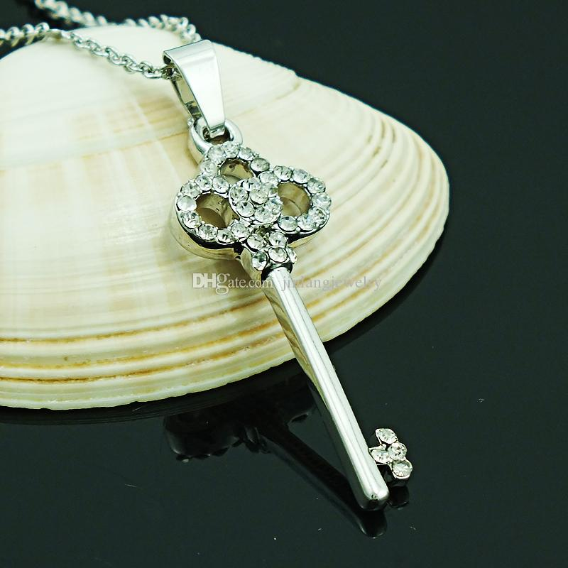 Brand New Fashion Pendant Necklace White Rhinestone Key Charms Silver Plated Link Chain Necklace For Men Jewelry
