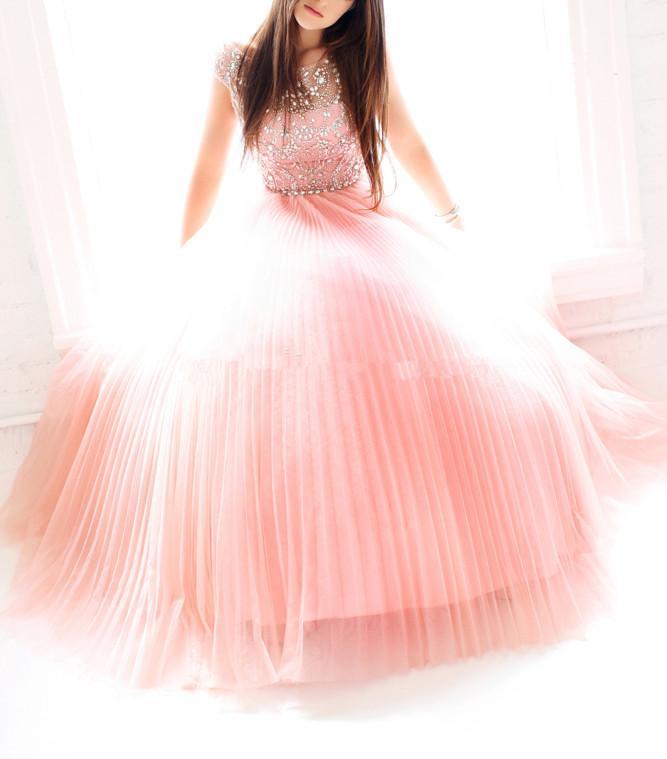 2019 Мода Длинные платья выпускного вечера втулки крышки Scoop Neck Кристаллы Beadings тюль A-Line партии мантий Zipper назад сшитое P160
