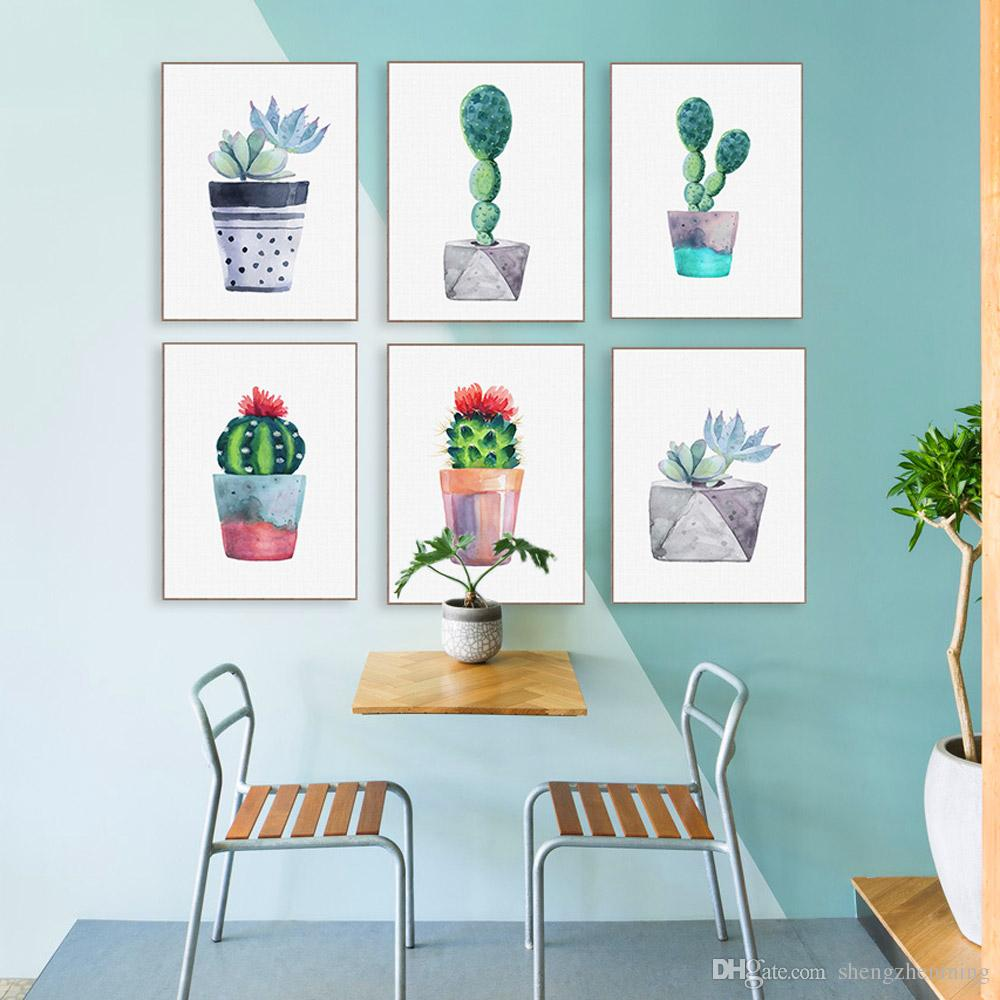 2018 Modern Watercolor Green Succulent Plant Cactus Poster Nordic ...