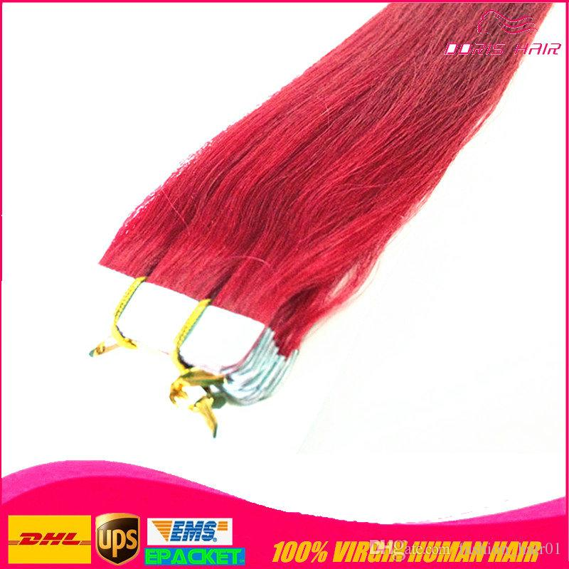 50% off MIX 5 colours tape in hair extension pink red blue purple burg remy human hair tape hair extension free DHL