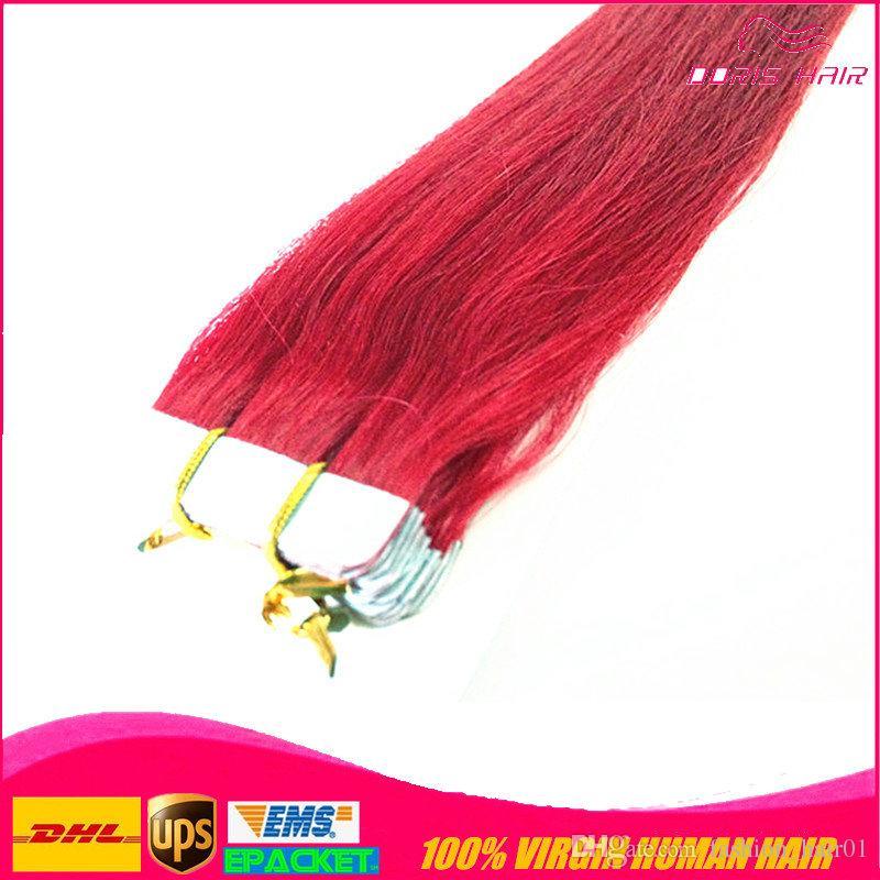50% Rabatt auf MIX 5 Farben 10er Band in Haarverlängerung pink rot blau lila burg remy Menschenhaar Band Haarverlängerung frei DHL