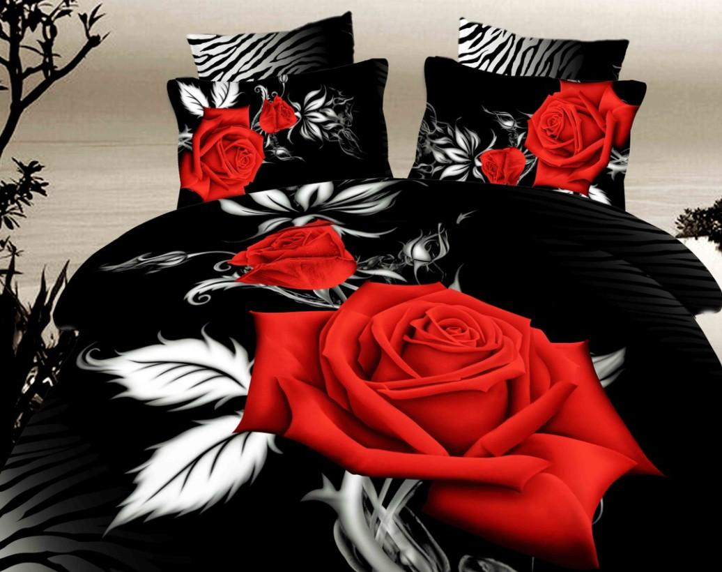 Black and red bedding - 3d Black And Red Rose Bedding Set Super King Size Queen Cotton Bed Sheets Fitted Quilt Doona Duvet Cover Western Bedspread Bedsheet 5pcs
