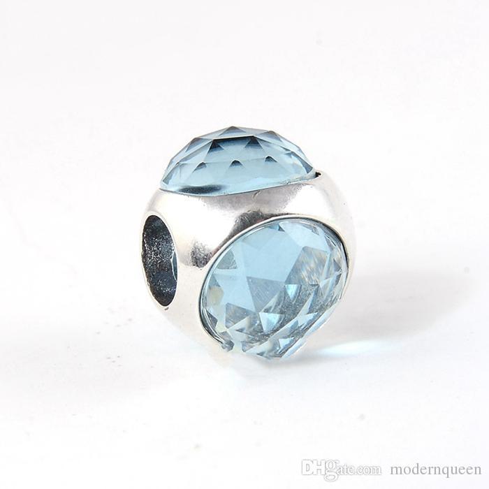Aqua Blue Radiant Droplet Charms S925 Sterling Silver Adatto Bracciale in stile marchio originale 792095Nab H8ALE