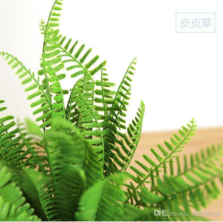 4 Types Lifelike Artificial Rustic Fresh Green Leaves Bush Fern Grass Plant Home Decorative Plants Party Decoration DT17