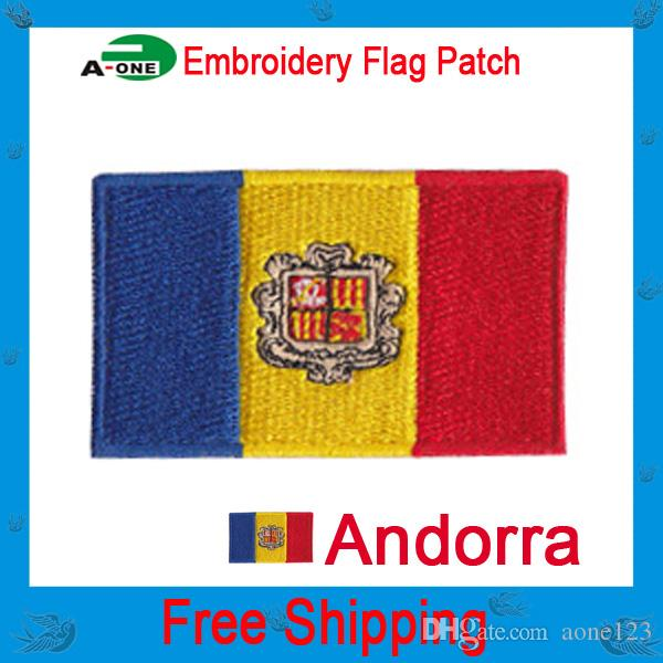 andorra Flag patch embroidered Iron On Towel fabric patch sew on sew on Motif Applique garment embroidery patch DIY accessory