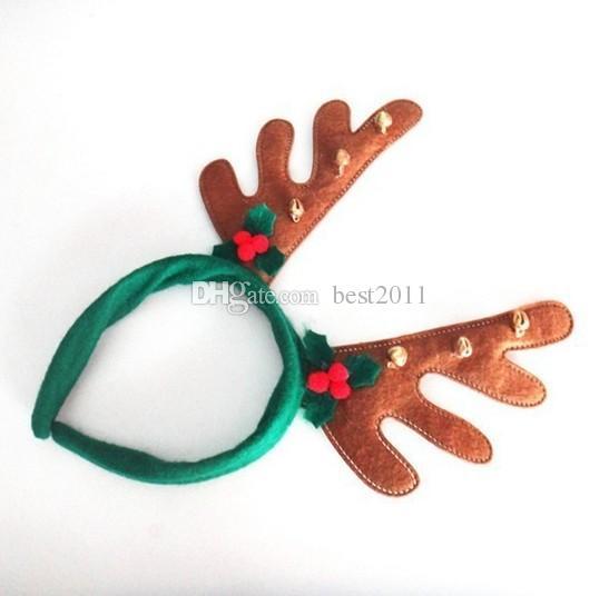 Boys Girls Noel dekorasyonu saç bandı parti malzemeleri Reindeer Antler Santa Şapka yılbaşı şapkası Yeşil Kırmızı Kahverengi renk