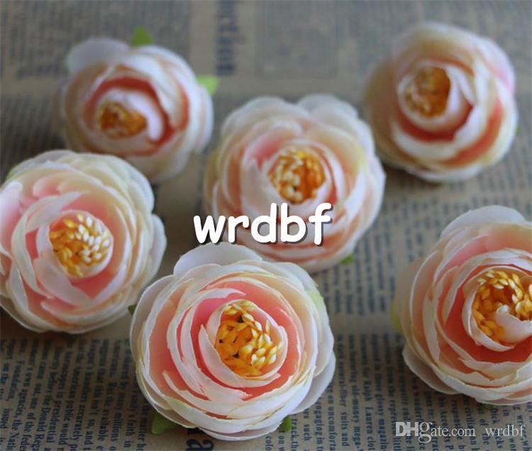 HOT Silk Camellia Flower Head Dia. 4 cm fiori artificiali tè rosa bocciolo di rosa accessori da sposa copricapo da sposa fai da te i disponibili