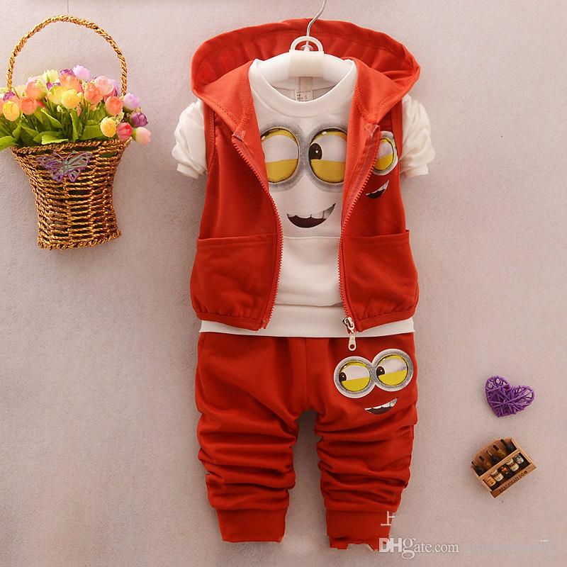 Autumn Boys Clothing Sets Minions Kids Coat/Vest Jacket+T Shirt+Pants Cartoon Children Sport Suits Infant Newborn Baby Girl Minion Clothes