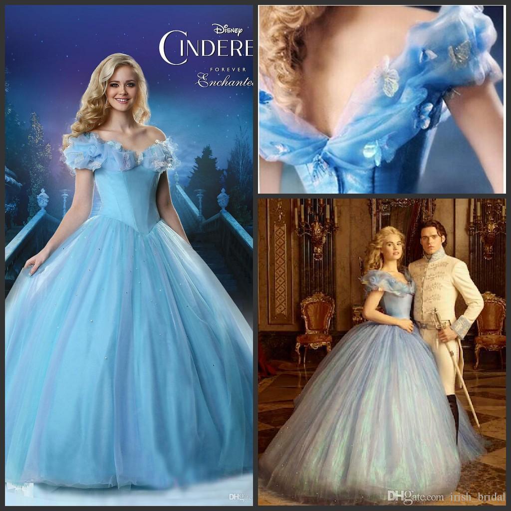 Compre Off Hombro Cinderella Princesa 2015 Azul Vestidos De Novia ...