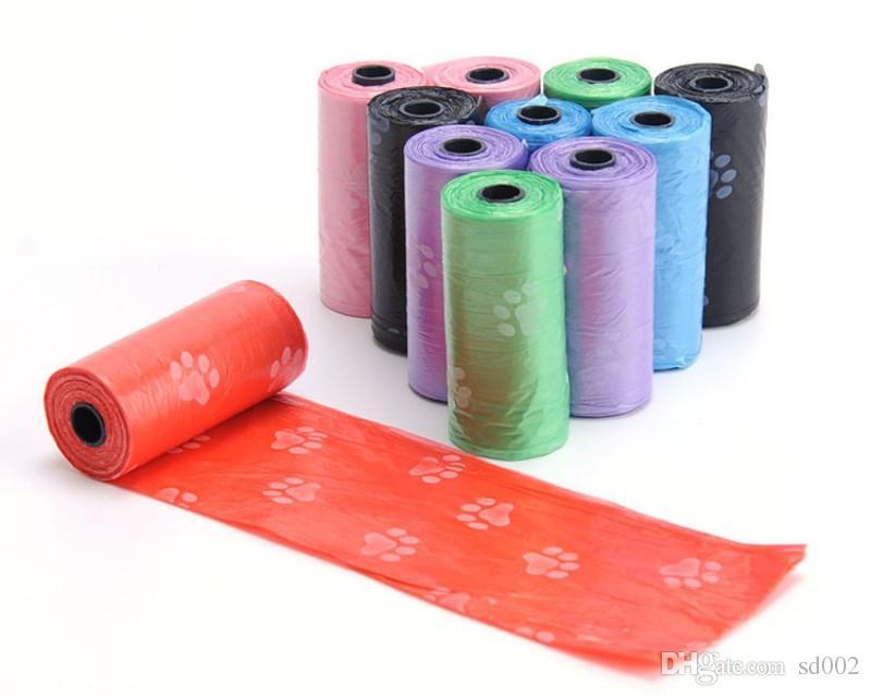Sac de caca de chien coloré imprimé en plastique écologique Sacs à ordures pour animaux domestiques Pochette de nettoyage pour chiot dégradable Portable 0 54jn B R