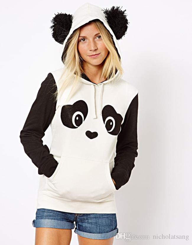 b14812106b9ac Brand Design Womens Long Sleeve Hooded Black Sweatshrits with Cute Panda  Design And Contrast Color Patchwork for Drop Ship Womens Hoodies Black  Hoodies ...