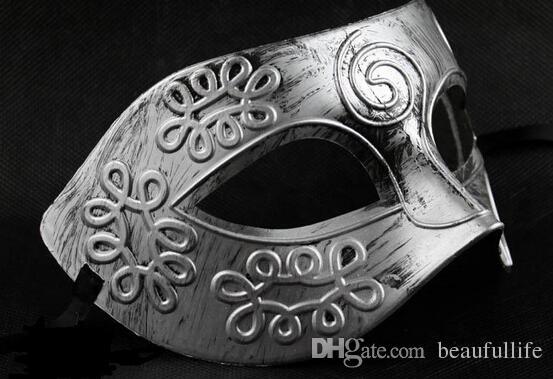 High Quality half face gold silver mask Men masquerade mask ancient Greece and Roman warriors masquerade mask